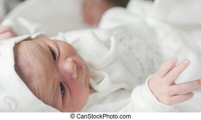 New born baby in maternity hospital, close up