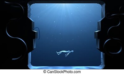 """""""New Born Future Concept. A female humanoid come up in an abstract pool with futuristic porthole. """""""