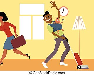 Stay at home dad with a baby in a sling, vacuuming and waving goodbye to his wife, who is going to work, vector cartoon, no transparencies, EPS 8