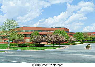 New Brick Office Building Trees Suburban MD USA - Sprawling...