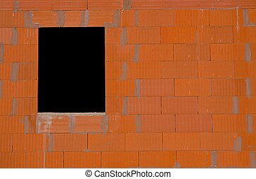 new brick wall with a window