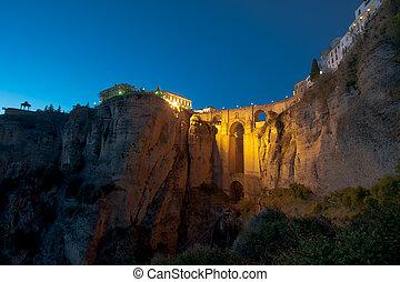 New Bridge at night, Ronda, Spain