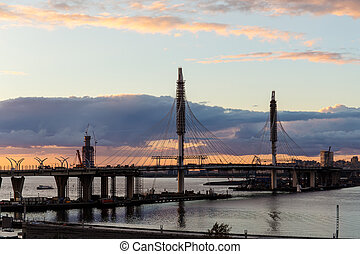 new bridge in Sankt-Peterburg - new bridge and the bay in ...