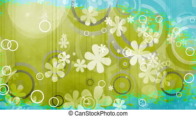 New bright flowers and shapes retro looping color rip ...