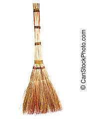 New broom isolated on white background