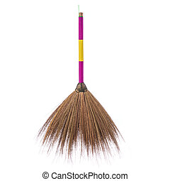 New brown nature broom. Studio shot isolated on white