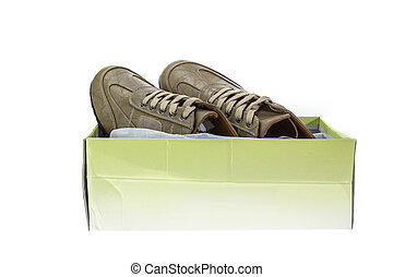 New brown shoe in box isolated on white