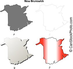 New Brunswick province blank vector outline map set