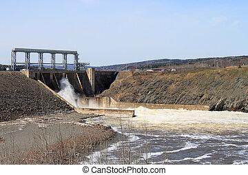New Brunswick dam - Dam producing energy through water in...