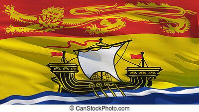 New Brunswick flag, Realistic 3d illustration. 4K