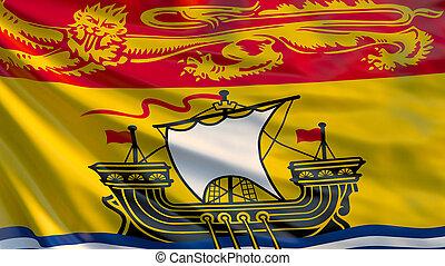 New Brunswick flag. Waving flag of New Brunswick province, Canada