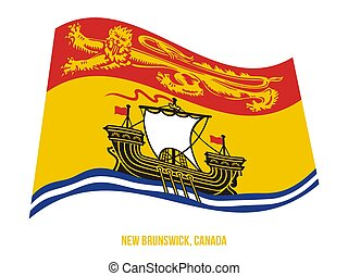 New Brunswick Flag Waving Vector Illustration on White Background. Provinces Flag of Canada