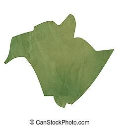 New Brunswick map on green paper