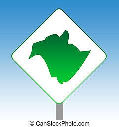 New Brunswick map road sign