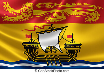 New Brunswick Provincial Flag of Canada - 3D rendering of...
