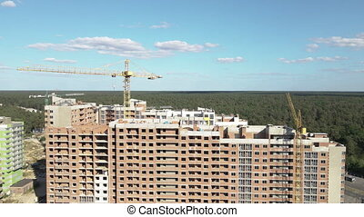 New building. Construction of multi-storey apartments. Ukraine. Kiev. Aerial view.