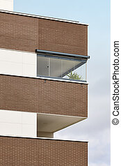 New building exterior facade with terrace. Construction. Buy