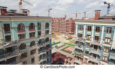 New built and unfinished apartment blocks, aerial view....
