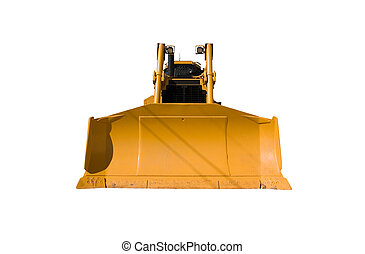 This is a front view of a new bulldozer isolated on white.