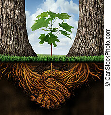 New business developmentgrowth concept with a group of two partner trees coming together as plant roots shaped as an agreement handshake resulting in the creation of a new growing team opportunity.