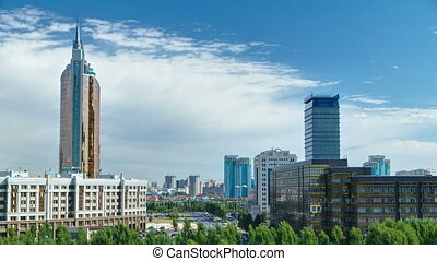New business district timelapse from roof in the capital of Kazakhstan in Astana.
