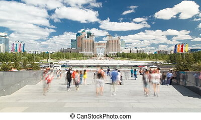 New business district timelapse from stairs Khan Shatyr in the capital of Kazakhstan in Astana.