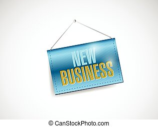 new business hanging sign illustration design over a white...