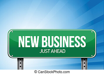 new business sign in green illustration design