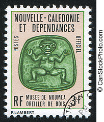 Carved Wooden Pillow - NEW CALEDONIA - CIRCA 1972: stamp ...