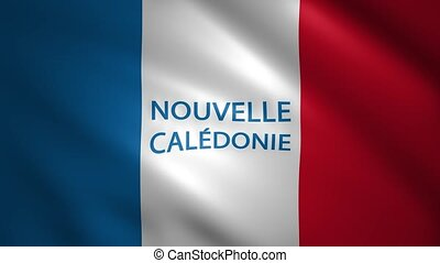 New Caledonia flag with the name of the country