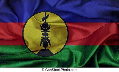 New Caledonia grunge waving flag