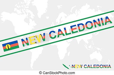New Caledonia map flag and text illustration