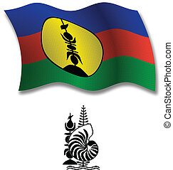 new caledonia textured wavy flag vector