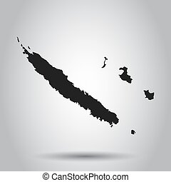 New Caledonia vector map. Black icon on white background.