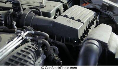 New car air filter new service mechanic hands closeup