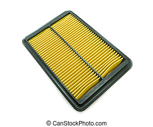 New car air filter on white background