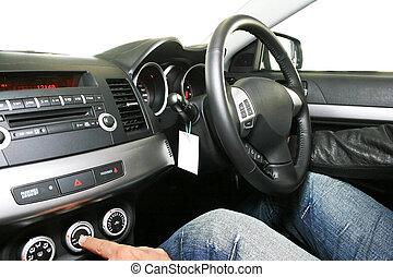Dashboard of new black car.