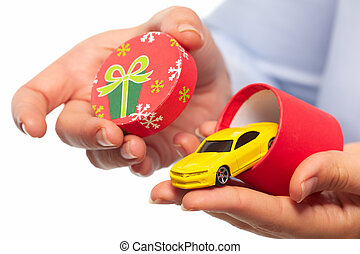 New car gift. Auto dealership and rental concept background.
