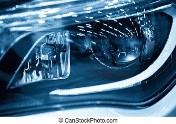 new car headlights background