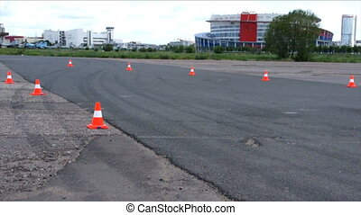 car move on test drive track