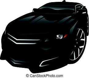 New Car Sedan Cartoon Illustration