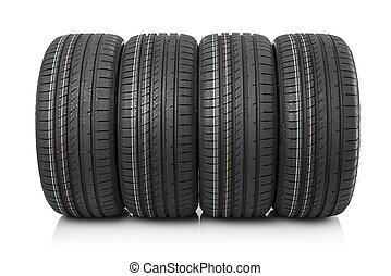 New car tires isolated on white background.