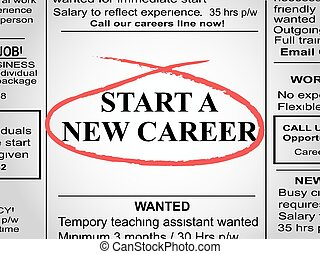 Newspaper clipping with start a new career circled in red pen