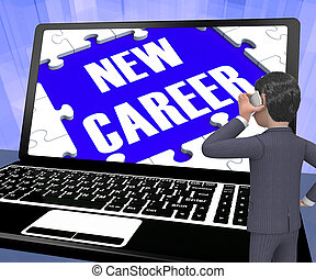 New Career On Laptop Showing New Employment 3d Rendering