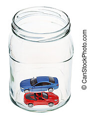 new cars in glass jar
