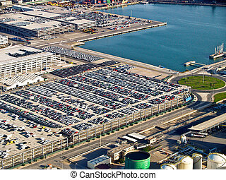New cars, port of Barcelona, Spain, aerial view