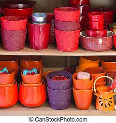 ceramic flowerpots in the florist store
