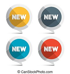 New Circle Labels Isolated on White Background Vector