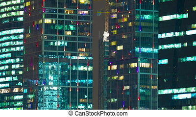 New City center night view, on December 13th, 2014 in Moscow,   is situated on  River in the Central Federal District of European Russia