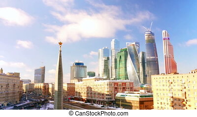 New City center night view, on December 27th, 2014 in Moscow,   is situated on  River in  Central Federal District of European Russia